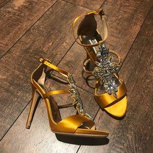 Badgley Mischka yellow crystal gem heeled sandals